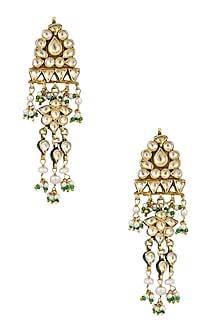 Gold Finish Pearls and Kundan Earrings by Art Karat