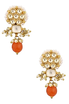 Gold Finish Kundan and Orange Beads Earrings by Art Karat