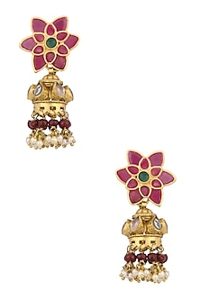 Gold Finish Kundan Stone Red Enamel Jhumki Earrings by Art Karat