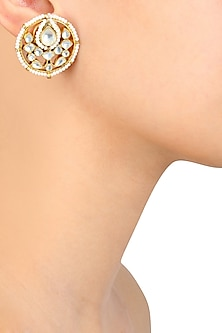 Gold Finish Kundan and Pearls Stud Earrings by Art Karat