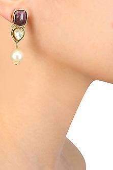 Gold Finish Ruby, Pearl and Kundan Earrings by Art Karat