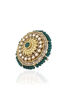 Gold Finish Kundan Round Ring by Art Karat