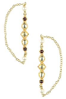 Gold Plated Kundan and Pearl Earrings/ Earcuff by Art Karat