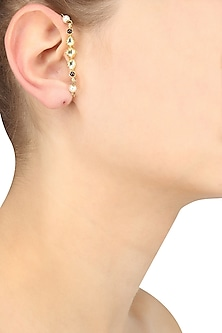 Gold Plated Kundan and Pearl Earrings/ Earcuff