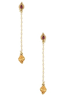Gold Plated Kundan and Pearl Long Earrings by Art Karat