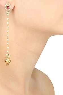 Gold Plated Kundan and Pearl Long Earrings