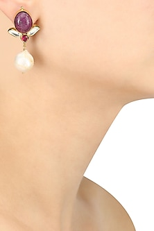 Gold Plated Maroon and Pearl Earrings