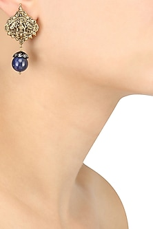 Gold Plated Embosed God Image Blue Stone Earrings