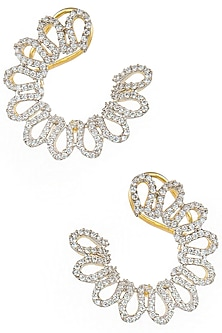 Gold Plated Zircon Half Flower Earrings by Art Karat