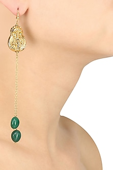 Gold Plated Embosed God Image and Green Stone Long Earrings