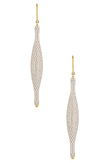 Gold Plated Zircons Fish Hook Earrings by Art Karat