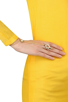 Gold Plated Kundan Stone Hand Harness by Art Karat