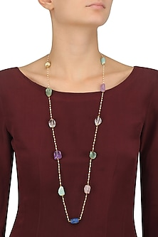 Gold Plated Multi Color Stone Long Necklace by Art Karat