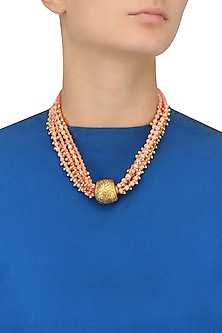 Coral Beads Necklace with Carved Ball