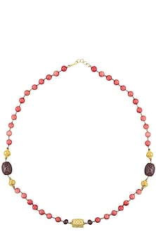 Pink Beads Necklace with Golden Carved Ball by Art Karat