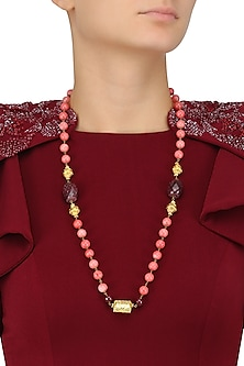 Pink Beads Necklace with Golden Carved Ball