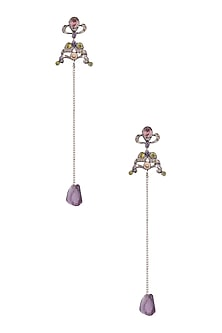 Silver Finish Multi Colour Stones And Amethyst Chain Earrings by Art Karat