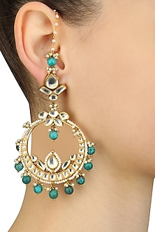 Gold Finish Kundan And Green Onyx Beads Crescent Earrings by Art Karat