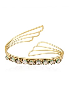 Gold Finish Kundan Stone Bangle by Art Karat