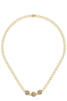 Gold Finish Shell Pearl String Necklace by Art Karat