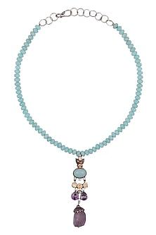Blue Sapphire Silver Pendant Necklace by Art Karat