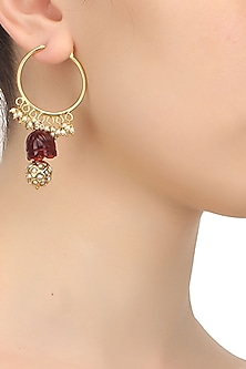 Gold finish zircon and pearls studded ball hoop earrings
