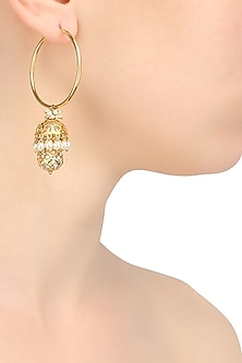 Gold finish white pearls and cluster round motif jhumki drop earrings by Art Karat