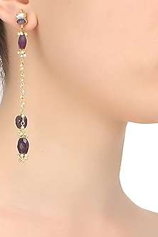 Gold finish white and purple sapphire chain earrings by Art Karat