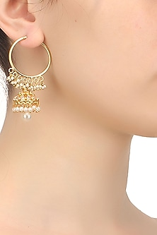 Gold finish zircons and pearl drop hoop earrings by Art Karat