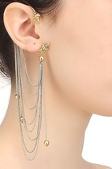 Gold finish silver chain earcuffs  by Art Karat