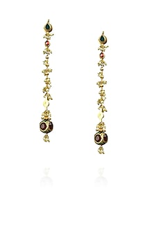 Gold finish green and red kundan studded long earrings