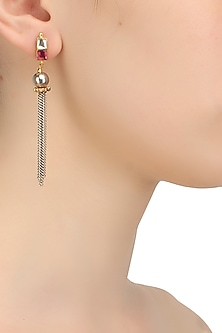Gold finish silver and pink kundan studded multiple chain earrings  by Art Karat