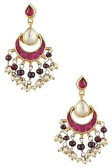 Gold Finish Pink Sapphire And Ruby Crescent Earrings by Art Karat