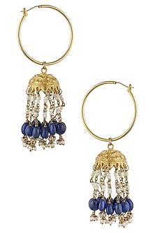 Gold Finish Blue Maniya And Pearl Jhumki Earrings by Art Karat