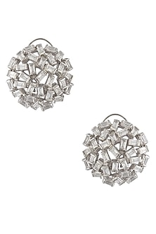 Silver Finish Zircons Stone Jaal Earrings by Art Karat