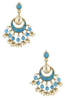 Gold Finish Firoza Kundan And Pearl Earrings by Art Karat