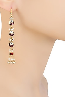 Gold Finish Maroon and Kundan Stones Long Earrings by Art Karat