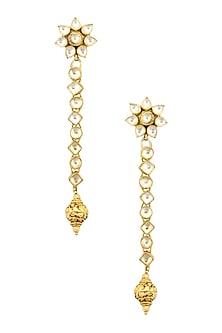 Gold Finish Kundan Stones and Textured Bead Drop Earrings by Art Karat