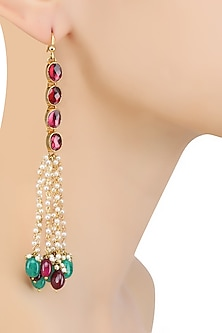 Gold Finish Maroon and Emerald Stone Drops Earrings by Art Karat
