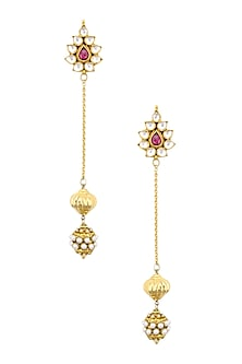 Gold Finish Kundan and Golden Beads Flower Earrings by Art Karat