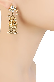 Gold Finish Kundan Stones and White Pearls Jhumki Earrings by Art Karat