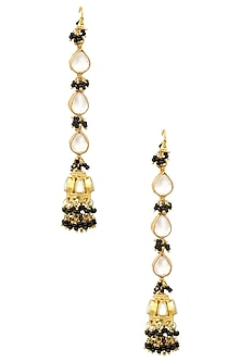 Gold Plated Kundan Stone Jhumki Earrings by Art Karat