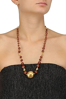 Brown Beads and Golden Carved Bead Long Necklace by Art Karat