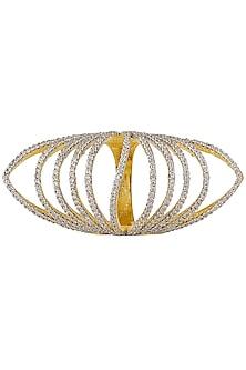 Silver Finish Zircon Semi Circle Ring by Art Karat