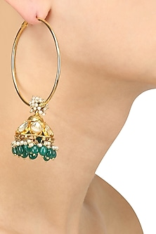 Antique Gold Plated Green Beads Jhumki Drop Earrings by Art Karat