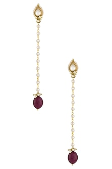 Gold Plated Kundan Stone and Pearl Chain Long Earrings by Art Karat