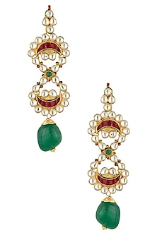 Gold Plated Kundan and Red Stone Earrings by Art Karat