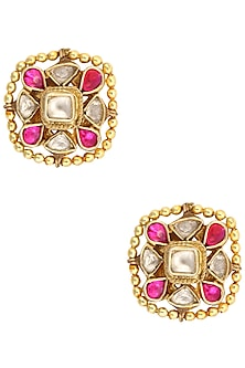 Gold Finish Kundan Stone Golden Beads Earrings by Art Karat