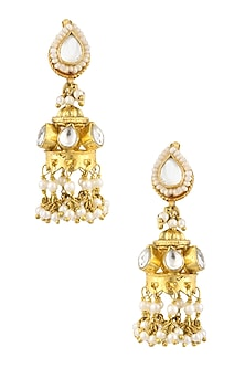 Gold Finish Kundan Stone Jhumki Earrings by Art Karat