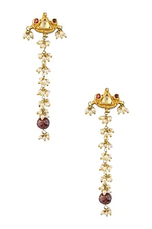 Gold Finish Kundan Stone And Pearl Bunches Long Earrings by Art Karat